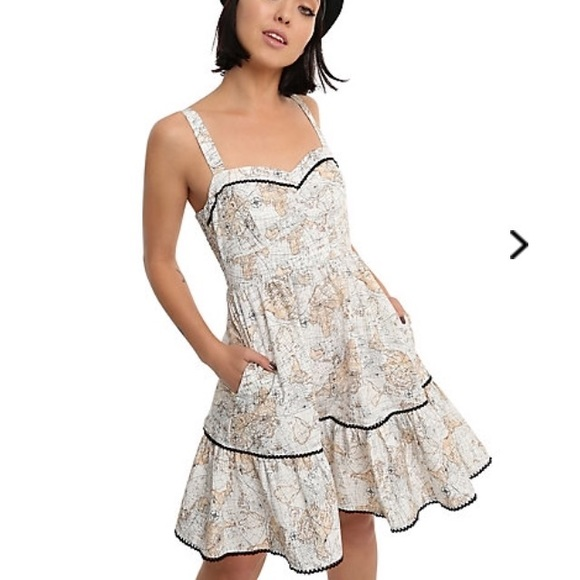 89f1414aff4b Hot Topic Dresses | Nwt Map Print Swing Dress Small | Poshmark